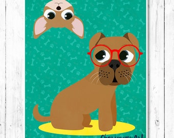 Boxer Dog Art Boxer Dog Art Print Chihuahua Wall Art Boxer Dog Art Print Dog wall art boxer illustration dog wall decor Boxer Dog Lover Gift