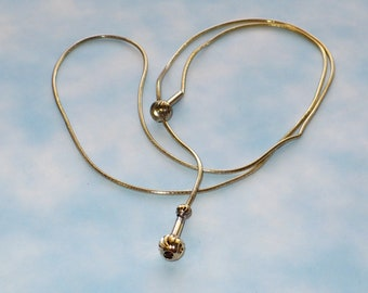 Milor lariat style necklace gold over silver vintage 1980's.