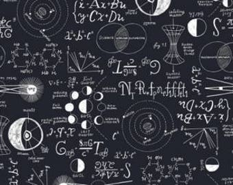 Navy Chalkboard Flannel from Rae Ritchie For Dear Stella ST-FRR804NVY cotton scientific math equations yardage