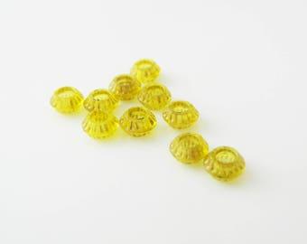lot x 10 (l259) yellow 7mm rondelle bead