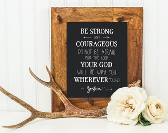 Joshua 1:9 Nursery Print, Children's Room Print, Hand Lettered