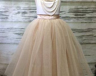 Free Shipping to USA Custom Made Girls Champagne  with Ivory Overlay  Floor Length Tulle Skirt -for Flower Girl,Rustic Wedding