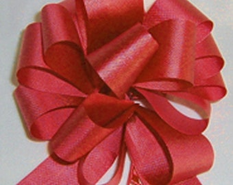 """10 Pull String Bows - Gift Wrap Packaging - 5"""" 20 Loops - 1 1/4"""" - Red"""