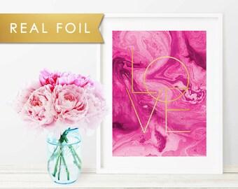Fuchsia Marble Love Real Gold Foil Art Print 11x14, 8x10, 5x7