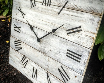 """Extra Large Reclaimed Wood Wall Clock - """"Double Time"""" (24""""h x 24""""w) - Weathered White"""