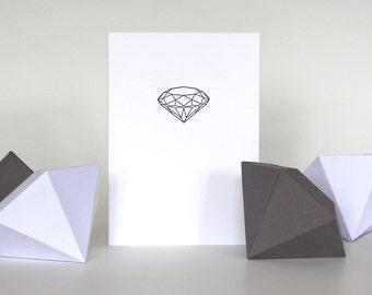Diamond Letterpress Greetings Card - Geometric Design - Engagement / Wedding / Anniversary