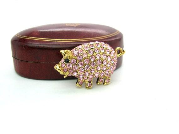 Vintage 1997 Trifari Limited Edition Pink Rhinestone Pig Brooch
