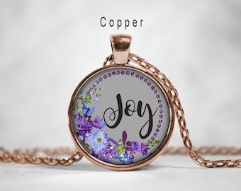 Words pendant etsy joy inspirational word pendant joy necklace inspirational jewelry joy pendant motivational wordsglass photo art pendant necklaceflower aloadofball Gallery