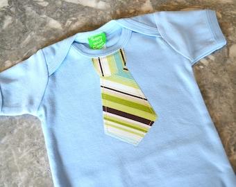 CLEARANCE 70% OFF  Green Khakie Tie appliqué on Sky Blue Short Sleeve top,  baby, boys tie t-shirt, boys t-shirt, toddler boy clothing