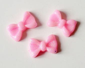 Pink glittery bow 10x7mm cabochon