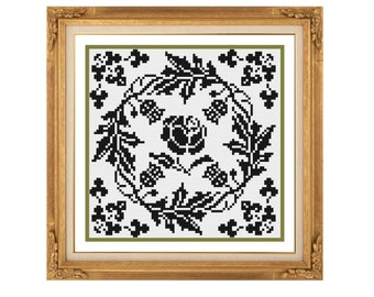 Rose and thistle.  Cross stitch pattern. Instant download PDF.