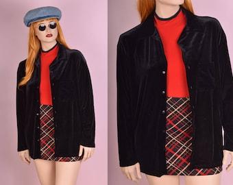 90s Black Velvet Button Down Shirt/ XL/ 1990s/ Long Sleeve