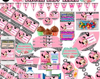 Kit Imprimible Minnie Mouse Baby Zebra editable + candy bar (mesa de dulces) toppers wrappers invitaciones banderines