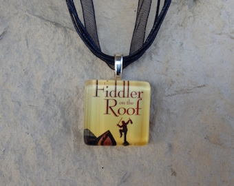 Broadway Musical Fiddler on the Roof Glass Pendant and Ribbon Necklace