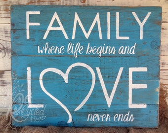 Family where life begins and Love never ends, Rustic Sign, Wall Decor, Wedding Decor, Family Wall Sign, Home Sign