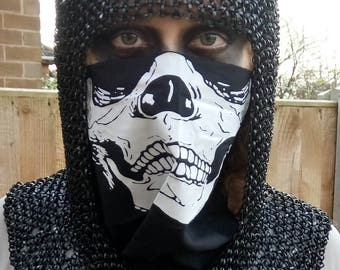 Black Medieval Knight Viking Wasteland Chainmail Coif/ Hood