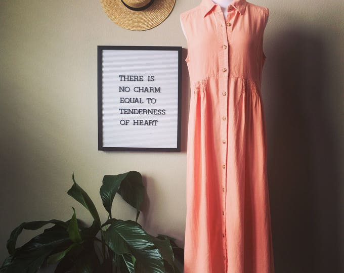 peach vintage linen dress