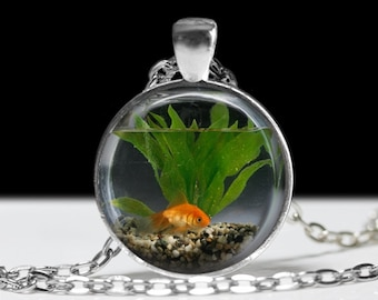 Goldfish Bowl Necklace Fish Jewelry Necklace Wearable Art Pendant Charm Goldfish Pendant Charm