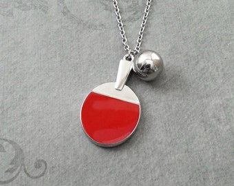 Ping Pong Necklace Ping Pong Ball Necklace Red Ping Pong Paddle Necklace Silver Charm Necklace Table Tennis Necklace Father's Day Gift