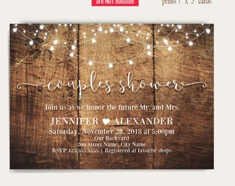 Couples Shower Invitation, Printable rustic wedding templates, Instant Download Self Editable PDF A3037