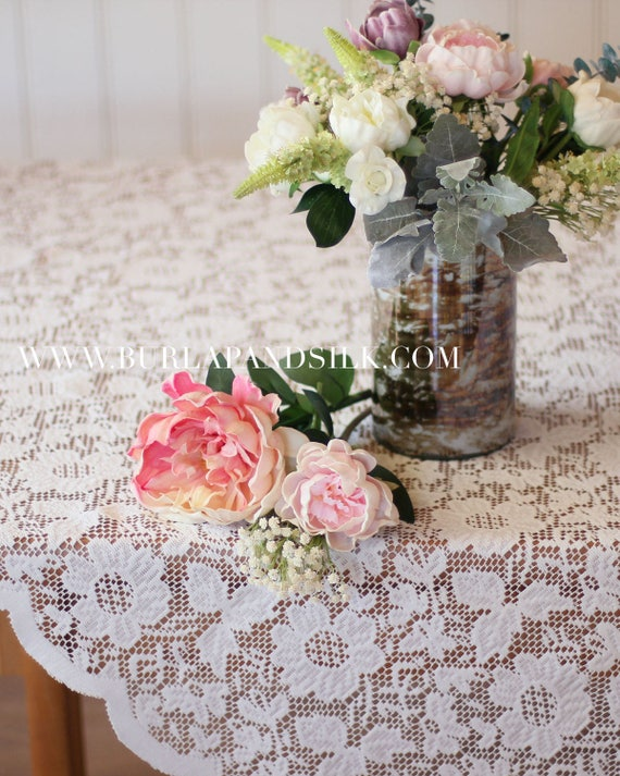 Ivory Lace Tablecloth 72 x 72 inches Square Lace Table
