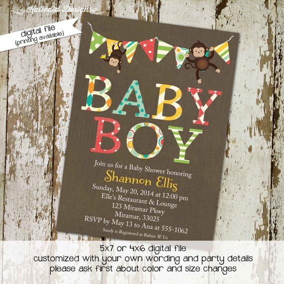 jungle monkey safari invitation diaper wipe brunch surprise gender reveal boy monkey 1st birthday dad diaper shower 126 Katiedid Designs