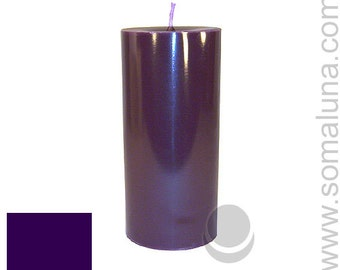 3 x 6.5 Eggplant Classic Hand-poured Unscented Pillar Candles Solid Color