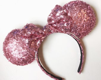 Handmade Pink Twisted Bow Sequin Minnie Ears