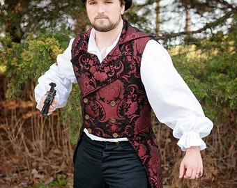Airship Pirate Coat, Black and Red, Victorian, Steampunk, Neovictorian, Frock Coat, Cut Away Jacket, Double Breasted, Tails Coat, Mr. Darcy