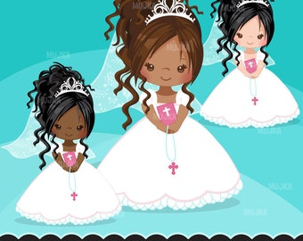 Pink First Communion Clipart for Girls. Holy Communion character, graphics, bible, rosary, veil. African American, religious, dark skin, art