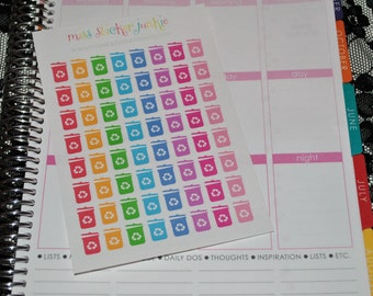 Recycling Can Stickers Recycle Stickers for Erin Condren Life Planner Plum Paper Planner Recycling Day Stickers