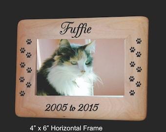 Pet Frame, Pet Loss Frame, Dog Frame, Cat Frame, Personalized Pet Frame, 4x6 Frame, Loss of Pet Dog Frame, Wood Frame, Pet Portraits