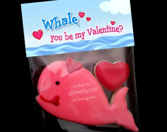 INSTANT DOWNLOAD - Printable Treat Bag Toppers  - WHALE You Be My Valentine