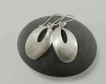 Graceful Curved Sterling Silver Dangle Earrings