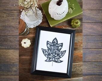 Black & White Leaf, Fall Art, Fall decor, Hello Autumn, Happy Fall, Seasonal, Give Thanks, Autumn Leaves, Fall Decoration, acorns, Art Print