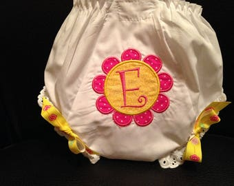 Personalized Baby Bloomers, Diaper Cover, Applique Baby Bloomers