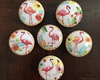 1.5 inch, pink flamingo, cabinet knobs, drawer pulls, white knob, orange, yellow, flamingos, SOLD SEPARATELY