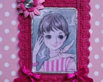 Applique.For her.For girl.Anime.Lolita.Japanese.Pink.Grey.Fushia.Stripes.Scarf.Accesory.Fabric applique.Felt brooch.Big eyes.Embellishment