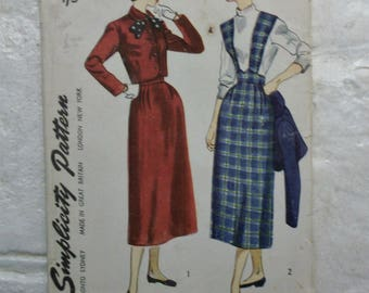 "Darling 1949 pinafore dress and jacket pattern waist 25"""