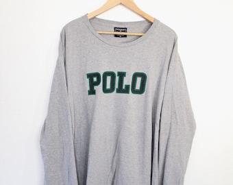 Vintage Polo Ralph Lauren Block Spell Out Long Sleever Shirt Size XL Polo Sport Grey Navy Green