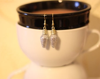 Silver Glitter Christmas Light Bulb Minature Ornament Charm Earrings - Holiday Jewelry