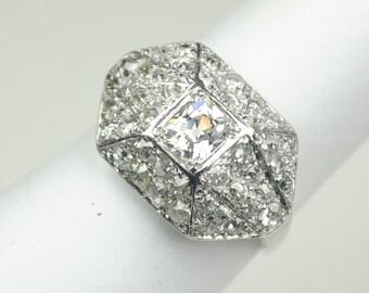 "Art Deco Platinum and Diamond ""Bombe"" Ring"