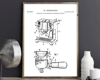 Coffee blueprint etsy espresso coffee maker patent print printable blueprint art kitchen wall art coffee poster malvernweather Images