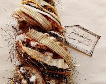 Root beer Float white pom garland vanilla striped ribbon brown tinsel Novelty Fiber Yarn Sampler Bundle