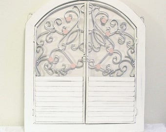 Shabby Chic Mirror, Distressed Wall Mirror, Cottage Decor, White Mirror,