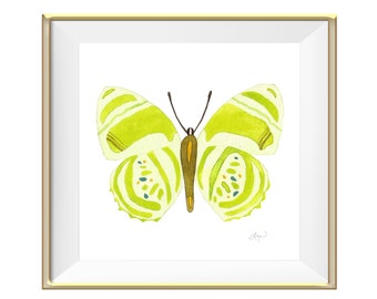Lime Butterfly Watercolor Print - Beautiful Home Decor Wall Art