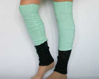Eco design Leg warmers by DominiqueJuliette / black silver tincel / mint / dance / boot socks / winter / gift idea / christmas / ballet