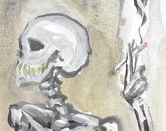 """Skull Skeleton Day of the Dead Original Painting  ACEO Art card """"What a Drag"""""""