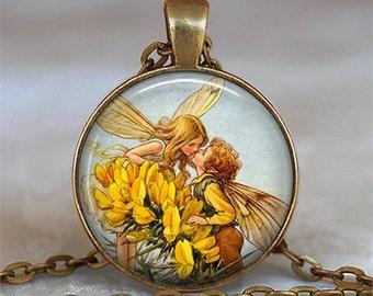 Fairy Romance pendant, fairy kiss romantic gift fairy pendant antique fairy jewelry Valentine gift key chain key ring key fob