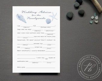 Beach Wedding Guestbook Alternative, Wedding Mad Libs Printable, Dusty Blue Wedding Guest Book, Printable Wedding Advice Cards, starfish